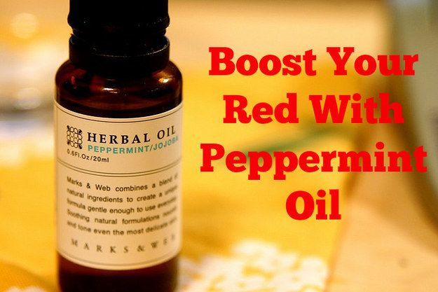 Spritz peppermint oil on your damp hair for a color boost! (Bonus: You'll smell like happiness.) #BuzzFeed #HowtobeaRedhead