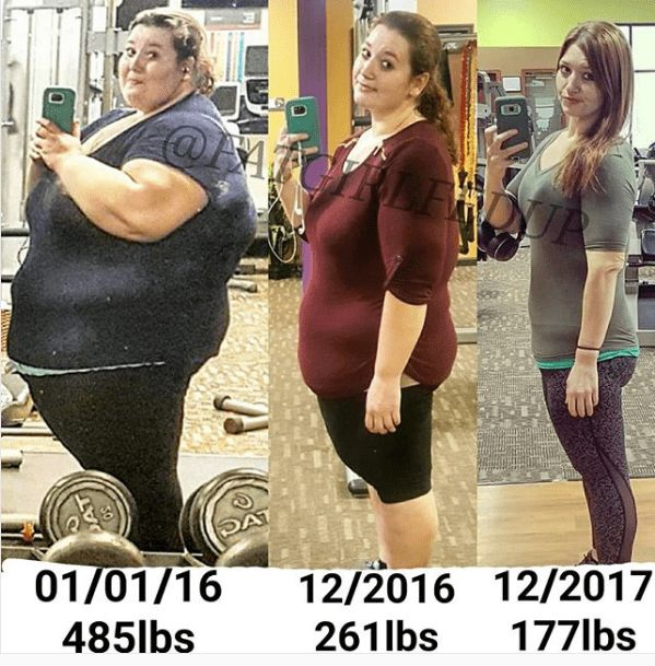 Lexi Reed lost more than 300 pounds, going from an astonishing weight of 485 lbs on January 1st, 2016 down to 177 lbs in December 2017. Read her story in pictures.