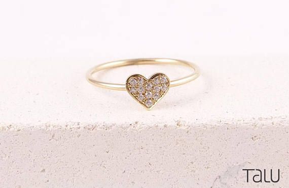 Diamond Heart Ring, Love Jewelry, 14k Gold Ring, Valentine's Gift, Gold Heart Ring, Diamond Ring, Heart Ring, Gift For Girlfriend