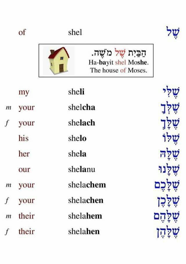 Shel Learnhebrew With Images Hebrew Language Words Hebrew