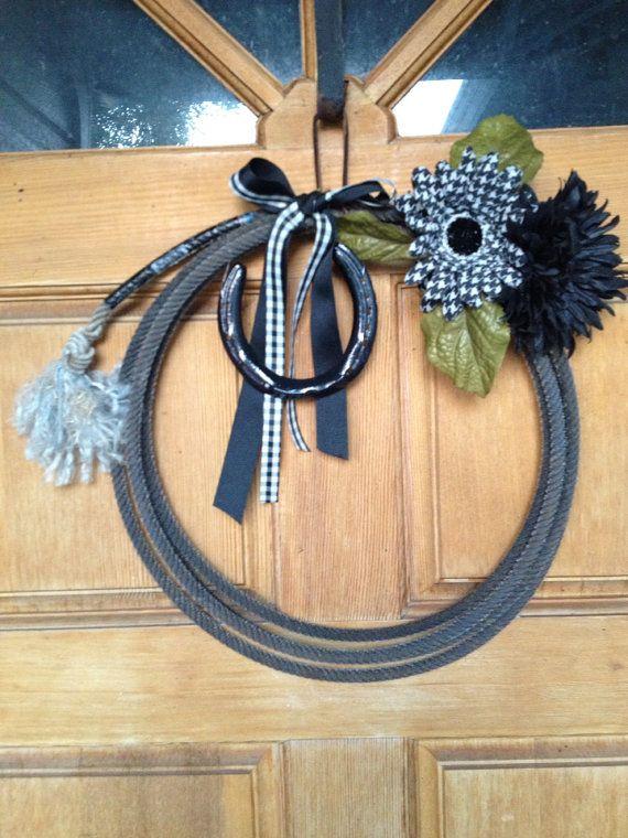 Roping Rope western  Wreath Horseshoe Burlap Western Home Decor on Etsy, $18.00