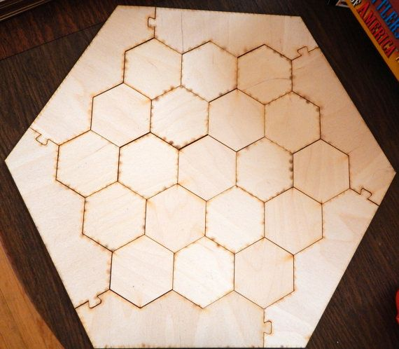 $23 Settlers of Catan Board - 19 hex tiles + 6 border pieces - Unfinished and Unsanded laser cut raw wood Catan game board blanks
