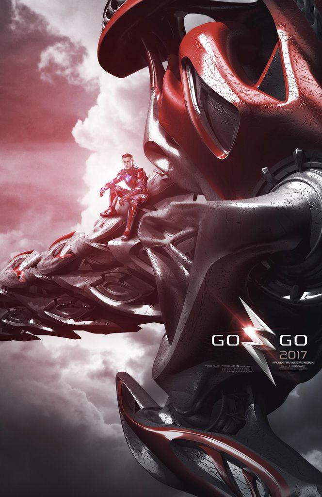 2017 MMPR movie Red Ranger on Tyrannosaurus Rex Zord Teaser Poster