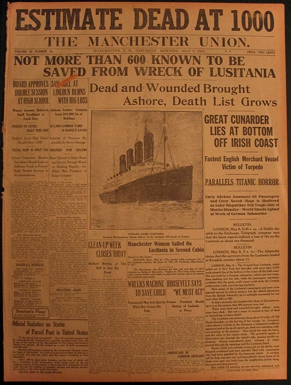 British Newspaper front page about the Lusitania sinking