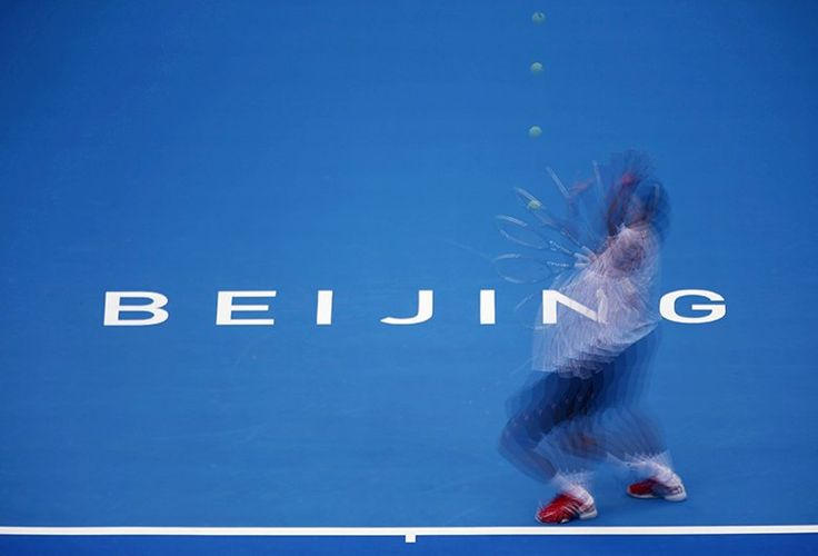 World No1 Novak Djokovic serving during his match against Lukas Rosol of the Czech Republic at the China Open tennis tournament in Beijing Petar Kujundzic
