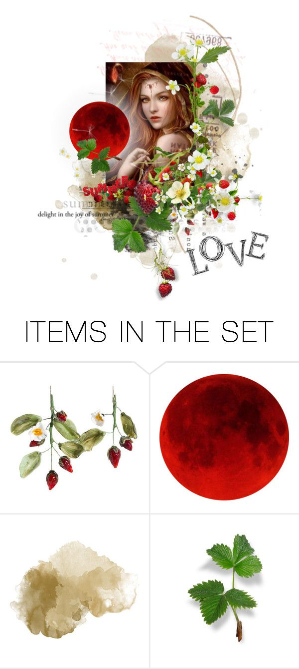 """""""Happy Solstice and Strawberry Moon"""" by sharmarie ❤ liked on Polyvore featuring art"""