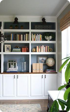 Dark wood and white bookcase