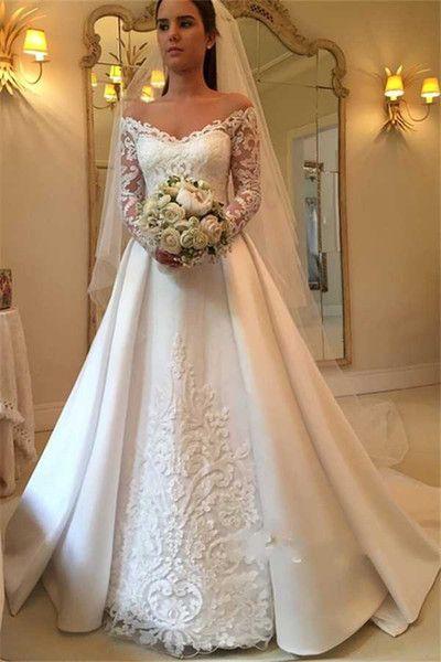 df93b4e7d5e Discount 2018 Elegant White A Line Wedding Dresses Off Shoulder Long Sleeve  Lace Appliques Sexy Back Button Bridal Dresses Charming Wedding Gowns Ivory  ...