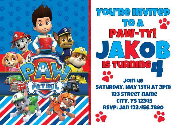 Paw Patrol Birthday Invitation with Free thank you by AMDdesigns1