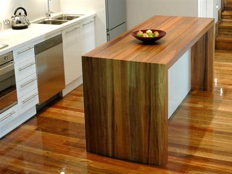 Feature stained timber island bench