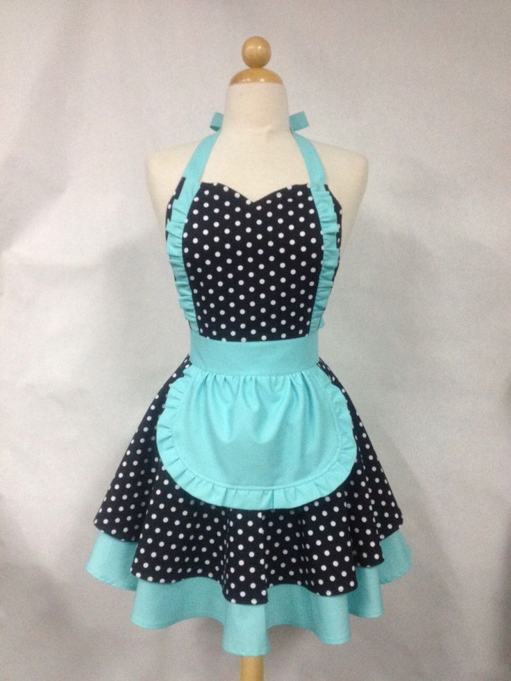 French Maid Apron Polka Dot with Aqua - Retro Full Apron by Boojiboo on Etsy https://www.etsy.com/listing/125825925/french-maid-apron-polka-dot-with-aqua