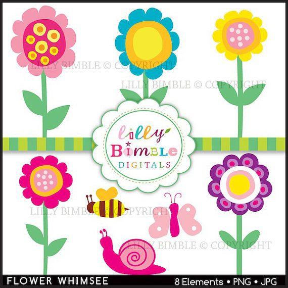 Modern Whimsical flowers clipart for