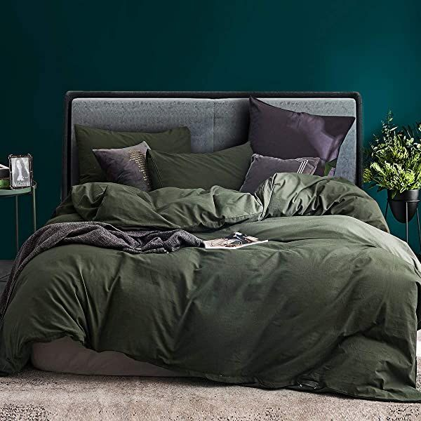 Duvet Cover Sets Ecocott 3 Pieces Duvet Cover Set Queen 100 Washed Cotton 1 Duvet Cover With Zipper And 2 Pillowcases Ultra Soft And Easy Care Breathable Co Green Duvet
