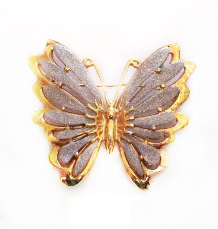 Vintage butterfly enamel metal gold tone pin brooch jewelry accessory