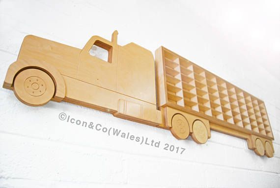 New to our Etsy range of unique shelving & furniture is this new American Cab style, truck & trailer-shaped, toy car storage & display units, fabricated in durable & attractive plywood & professionally lacquered to the very highest standard. These are designed & constructed by ourselves in our South Wales workshop & hold up to 60 cars per unit, & are unique to us. These trucks are extendable by adding extra trailers - for sale separately also, please check ou...