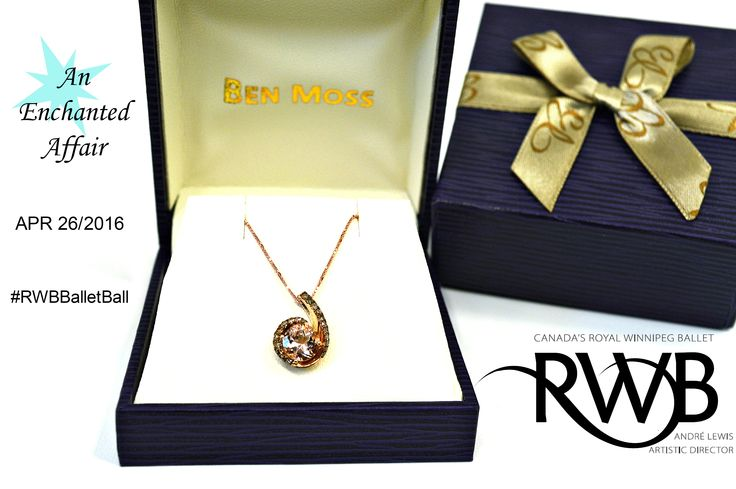 Win this 10k Rose Gold, Morgamite & Satin Diamond colour couture pendant at this years Ballet Ball #RWBBalletBall
