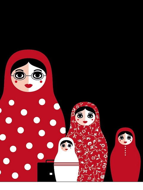 Russian dolls illustrating a family business.