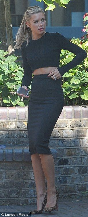 Abbey Clancy... black crop top and pencil skirt combo.. with Christian Louboutin 'Fifi' Leopard Print Heels..