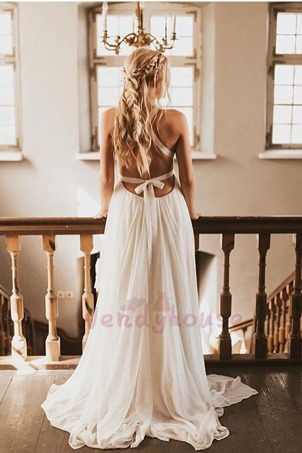 A Line Boho Long Wedding Dress With Criss Cross Back From Wendyhouse Boho Dresses Long Dreamy Gowns Long Wedding Dresses