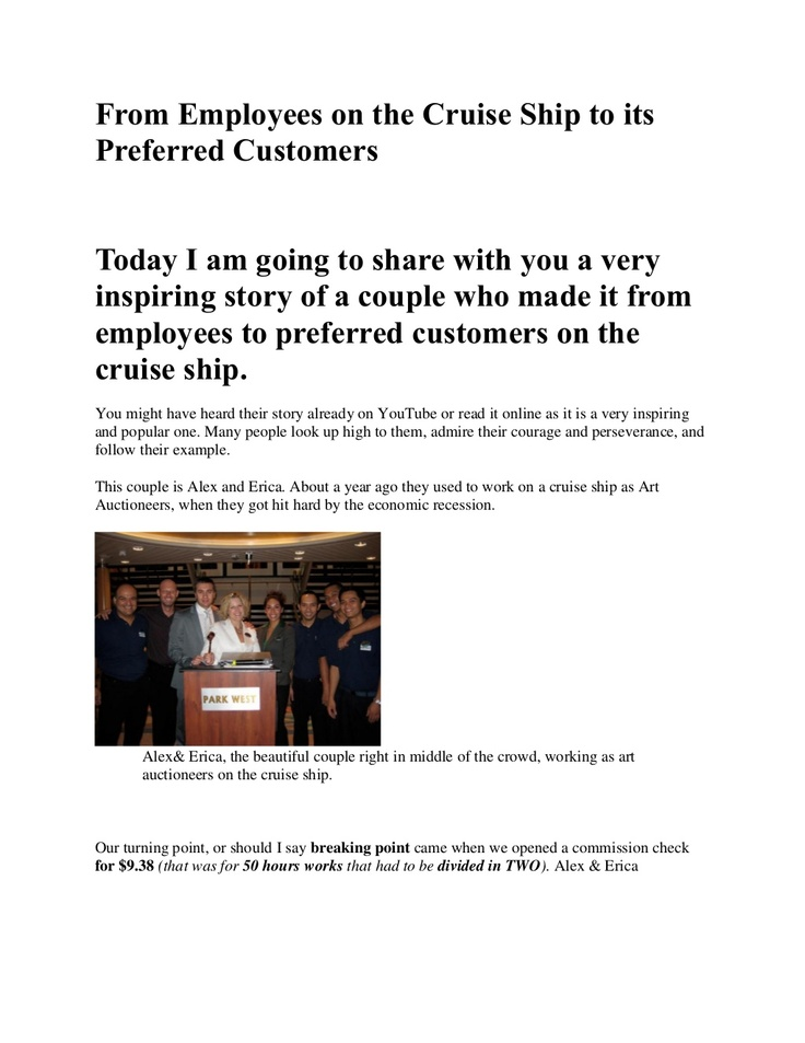 from-employees-on-the-cruise-ship-to-its-preferred-customers by Lala Johnson via Slideshare