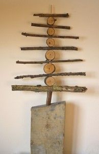 This handmade wooden tree is a little complicated, but there's some good math here. Notice the DECREASING size of the sticks? There's also HORIZONTAL and VERTICAL elements. Oh - and some CIRCLES! ~Bon