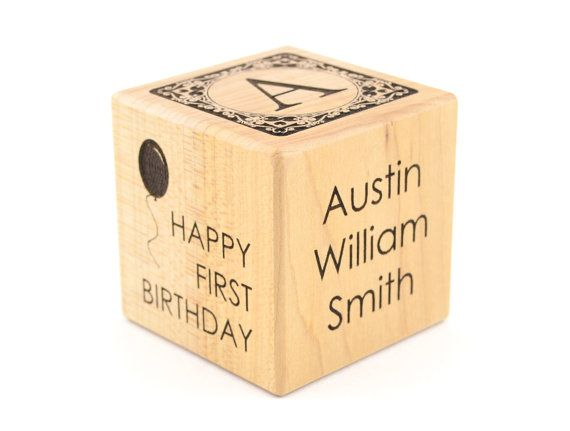 First Birthday Gift Personalized Baby Wooden Block Engraved Keepsake Toy Adoption Cube Newborns Alphabet Nursery Decor Blocks