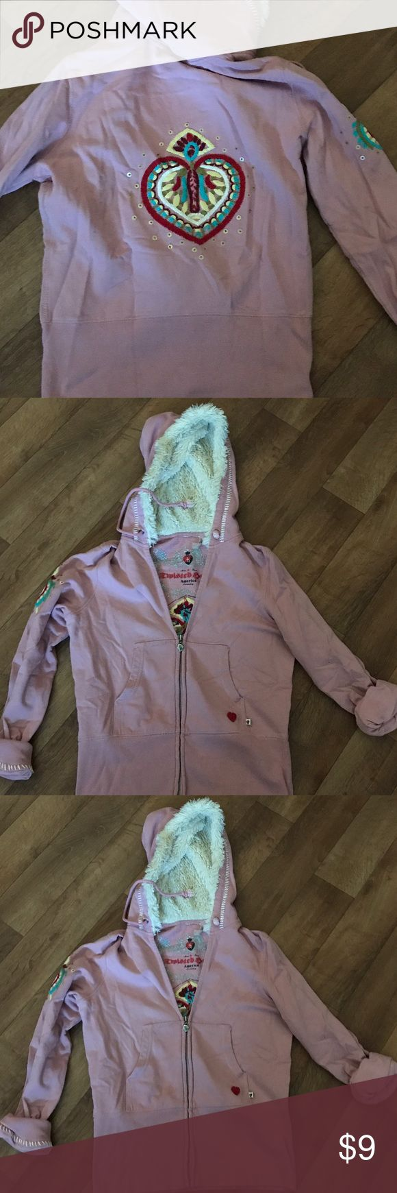 Twisted Heart Fur Lined Hoody Large Pink Fur Lined Hoody size large Tops