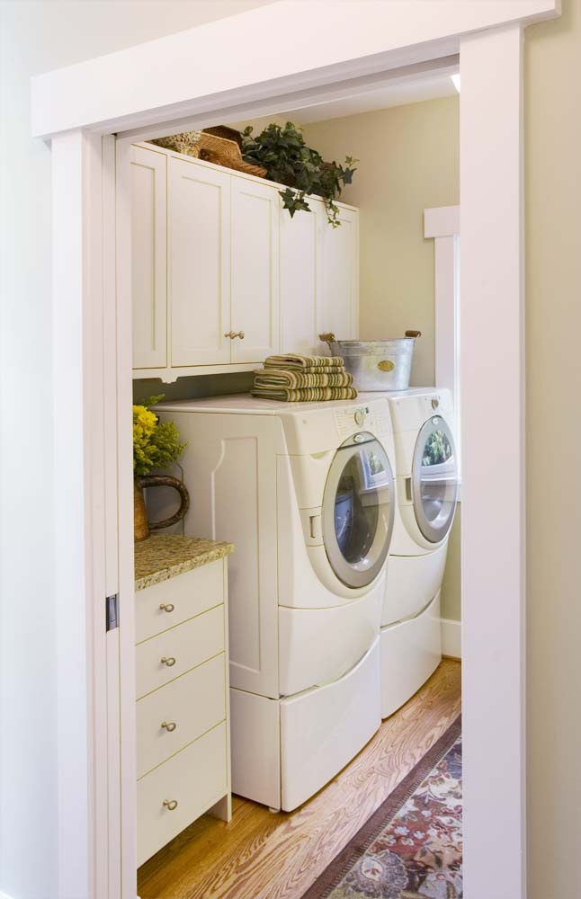 Clever Storage And Cabinetry In Small Laundry Room. Crown Point Cabinetry  Gallery #28