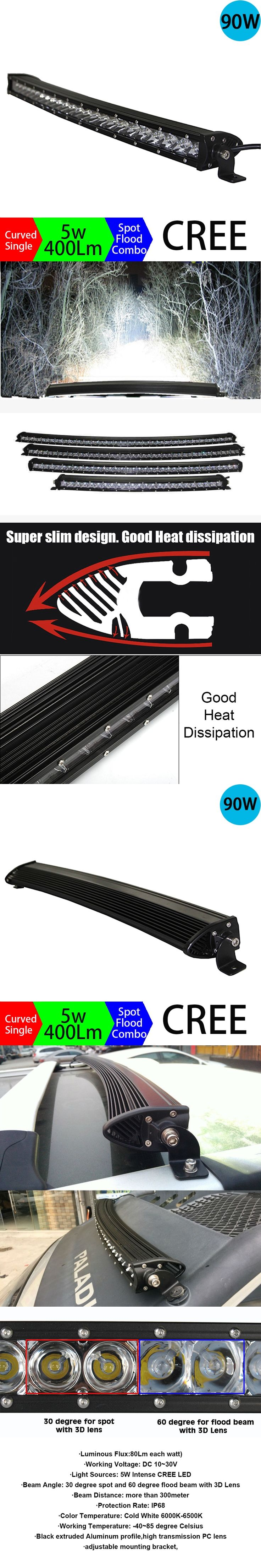 90W  led bar 4x4 High Power Long Distance Super Slim Single Row Curved Work Car Led Light Bar Offroad Driving Lamp Auto Part SUV