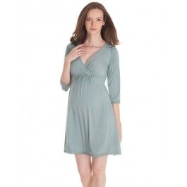 Chemise de nuit de grossesse et allaitement - Menthe