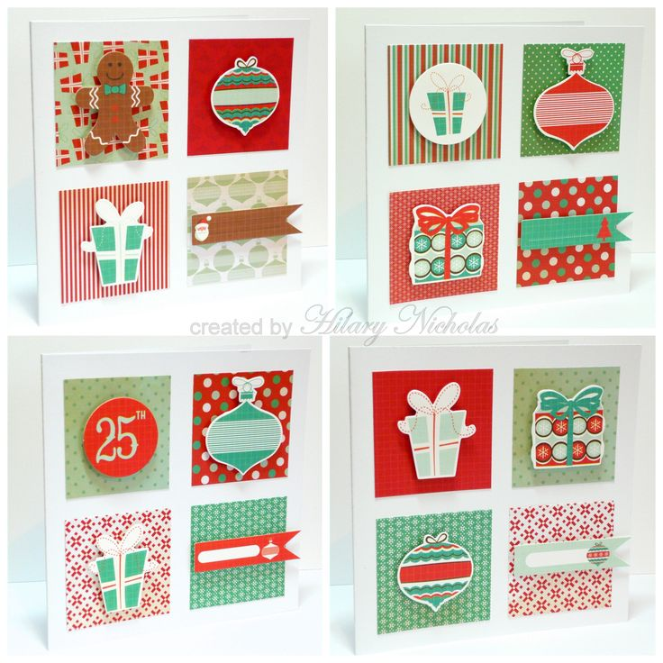 A set of 4 cards made with Kaisercraft's Gingerbread collection