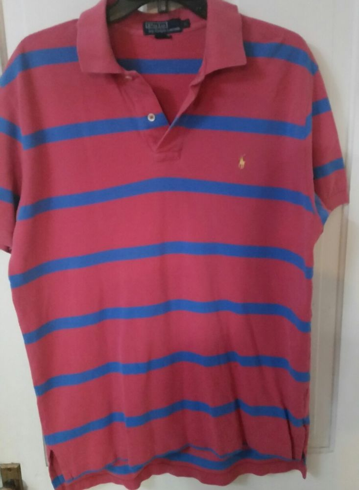 d9ae4bc23 Men's Polo Ralph Lauren Pink Blue Striped Short Sleeve Polo Rugby Shirt,  Large #PoloRalphLauren #PoloRugby