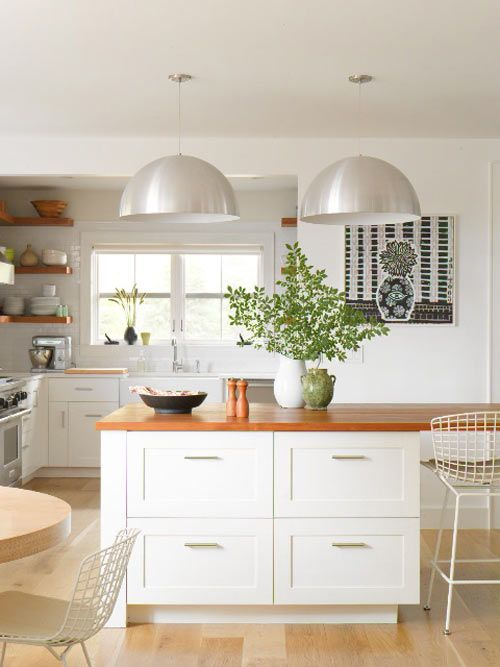 white and wood - contemporary cabinets