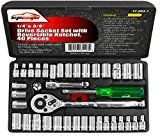40 Pieces  EPAuto 1/4-Inch & 3/8-Inch Drive Socket Set with Reversible Ratchet