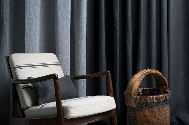 Beautiful chair in linen fabric Bis from Astrid. Linen curtains in our fabrics Madrid and Dries behind.