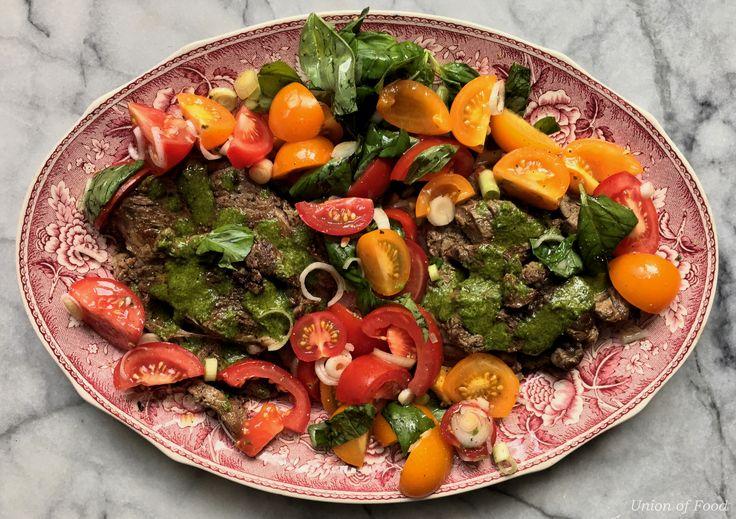 entrecote and salad