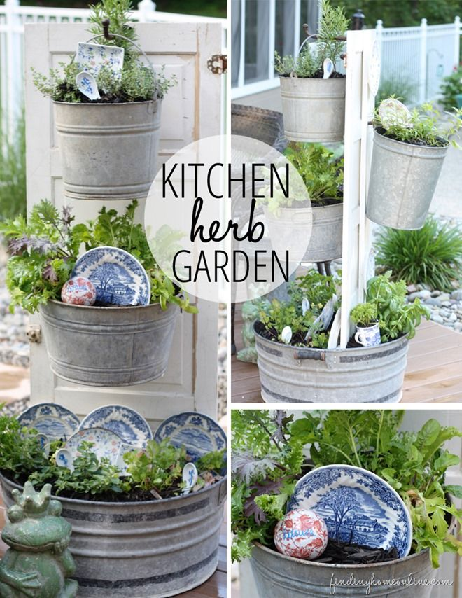 Beautiful Kitchen Herb Garden Plywood Galvanized Buckets Herbs Thrift Store China For