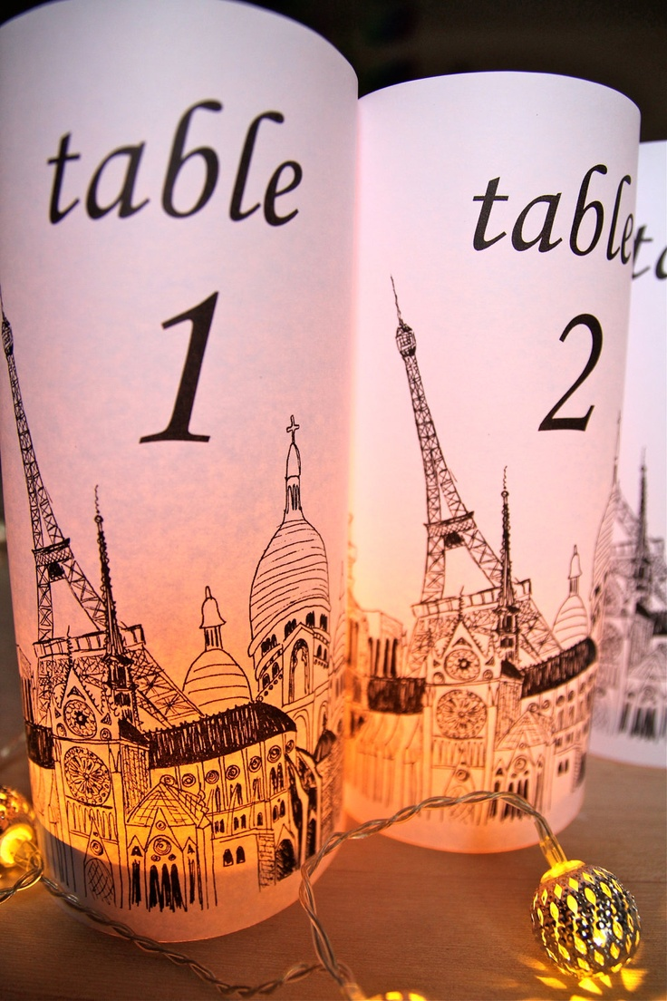 PARIS Table Number Luminaries PARIS – just add candles – set of 10 (White). $25.00, via Etsy.  by