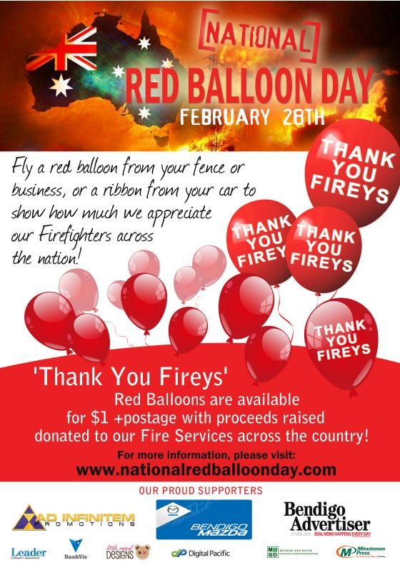 National Red Balloon Day. #fireys #firies #thankyou #thanks #firefighters #welldone #couldntdoitwithoutyou #TY #TYVM #thankyouverymuch