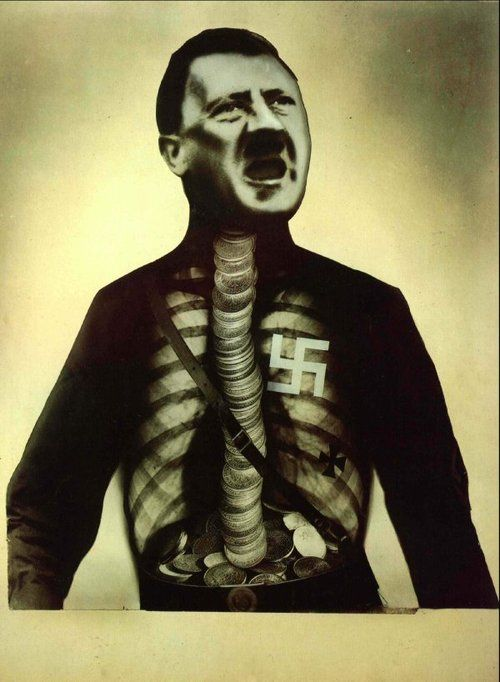 John Heartfield (June 19, 1891 – 1968) Adolf the Superman: Swallows Gold and Spouts Junk    As a contributer to the DaDa movement, John Heartfield (Helmut Herzfeld) communicated his artistic vision through photomontage among the Berlin dada scene…    John Heartfield used his art to protest the violent, greedy governmental control of the Nazi party and Hitler's Third Reich. He took a satirical approach, condemning the anti-semite and the wealthy industrialist who supported the German army. H