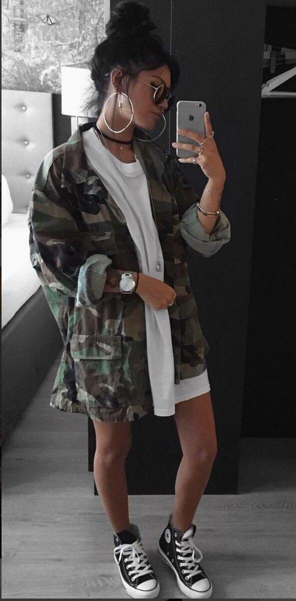 Camo jacket over white.
