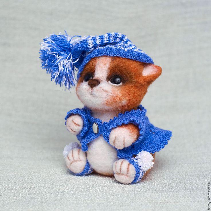Купить Котик из натуральной шерсти - комбинированный, шерсть, Валяние, кот, котенок, подарок, прикольный подарок