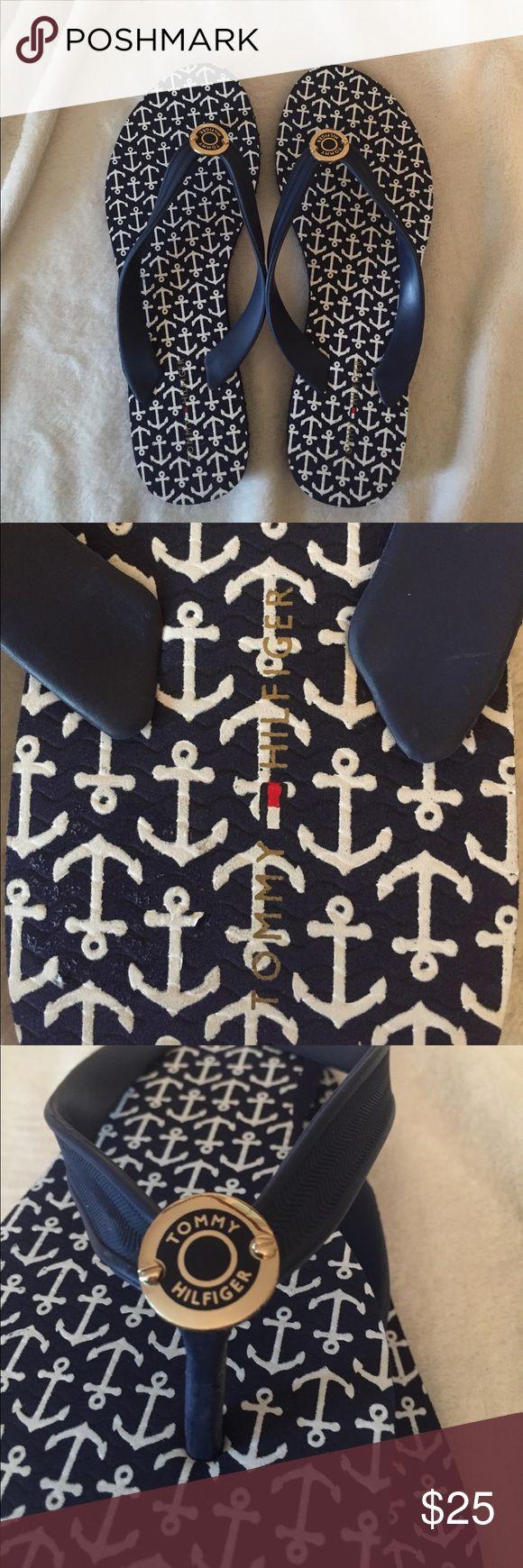 Tommy Hilfiger flip flops. Dark blue size 7. NWT. Tommy Hilfiger flip flops in a dark blue with anchors. Size 7. New with tags. NWT Tommy Hilfiger Shoes Sandals