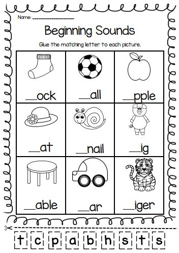 Beginning Sounds Worksheets for Kindergarten and Grade 1 Students.  Students cut…