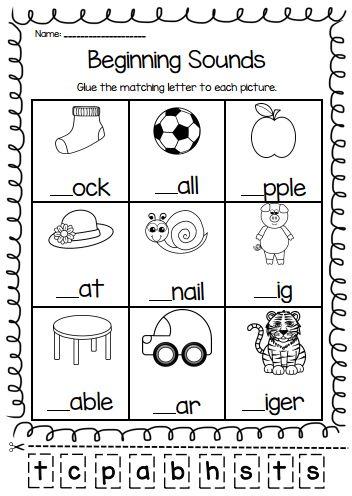 Beginning Sounds Worksheets for Kindergarten and Grade 1 Students ...