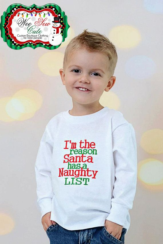 Boys Christmas Santa embroidered long sleeve shirt by weesewcute ...