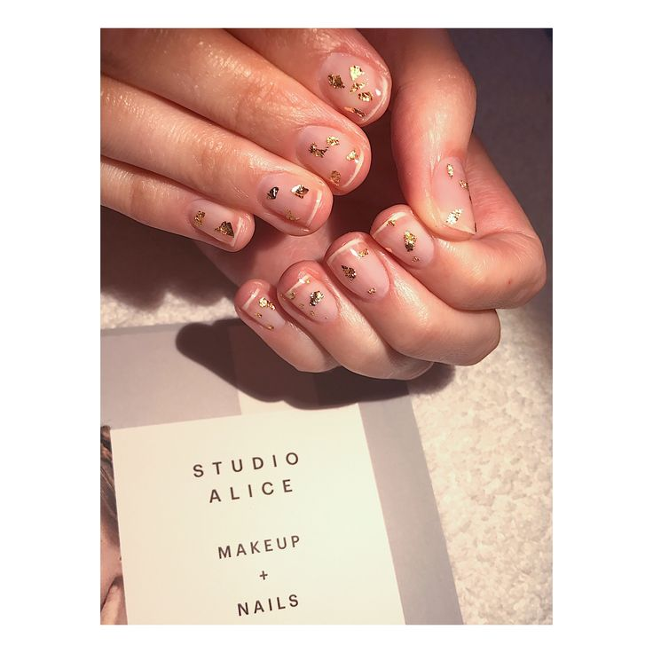 Studio Alice - makeup and nails Calgel manicure + gold leaf   Insta: alice_lily1