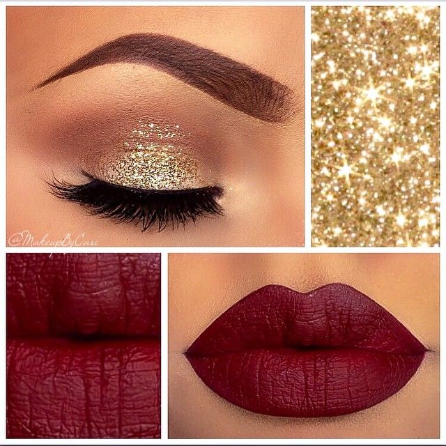 This gorgeous makeup look screams festive cheer. Boasting gorgeous glitter and a deep lip, this is perfect for your Christmas parties!