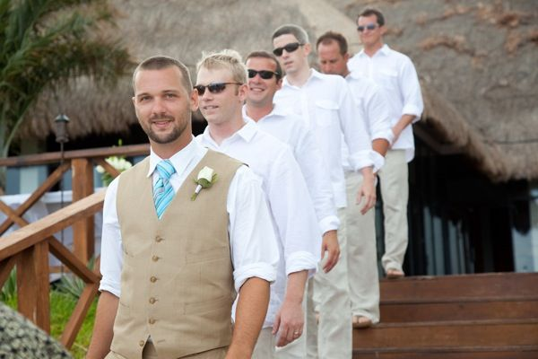 Groomsmen, just an idea, its not too casual, still dressed up but comfortable for a beach or view of beach wedding
