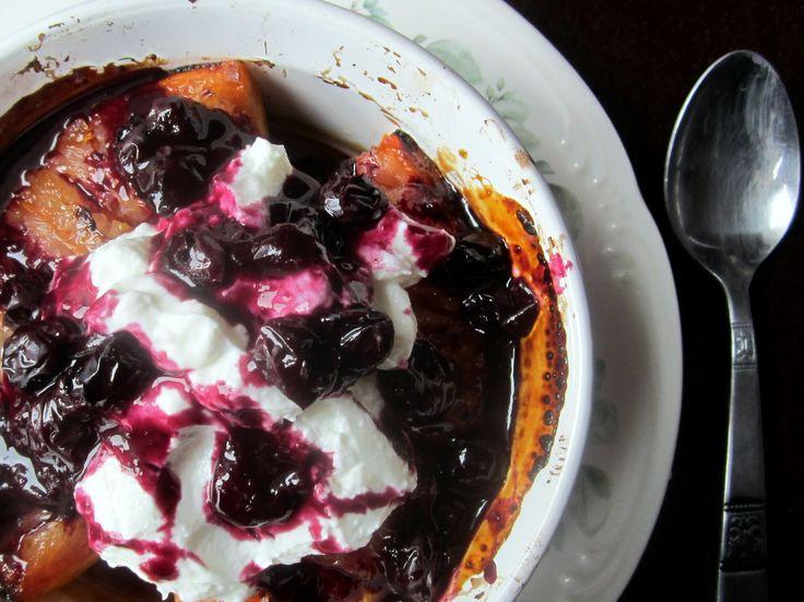 grapefruit brulee with yogurt and blueberry sauce. it sounds shmancier ...